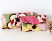 Ultimate Travel Set - Makeup/Brush Roll and Jewelry Roll Organizers Set in Mod Spring Flowers in Pastels by UpUrAly