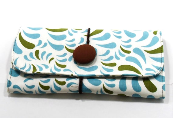The Aly Roll XL Makeup / Brush Roll in Blue/Green Leaf Motif
