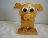 Wooden Figurine, Googly Eye Pig, Vintage Wooden Figurine, Roon Deco