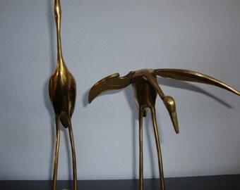 Vintage Brass Cranes Pair, Water Fowl, Brass Birds Two, Brass Heron Pair