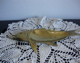 Vintage Brass Tray Modernist Fish