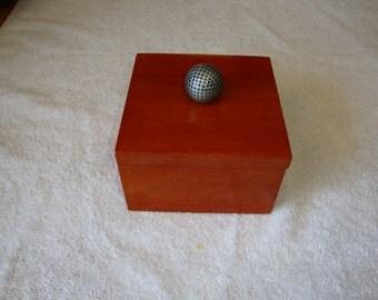 Wood Jewelry Box, Men's Golf Jewelry Trinket Box, Men's Jewelry Box, Men's Cuff Link Box, Ring box