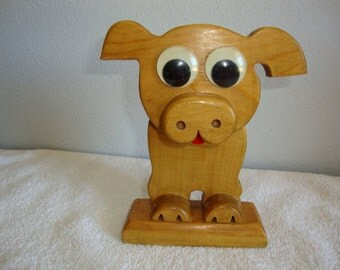 Wooden Figurine, Googly Eye Pig, Vintage Wooden Figurine, Roon Deco, Child's Room