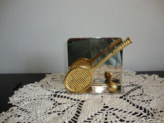 Vintage Brass  Metal Letter Napkin Holder Tennis racket and ball