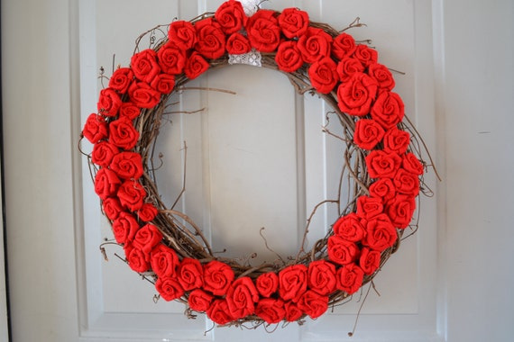 Red Rose Covered Grapevine Wreath, 18 inch