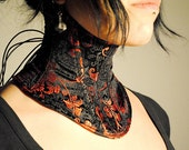 Black and Red Neck Corset Made of Chinese Inspired Satin