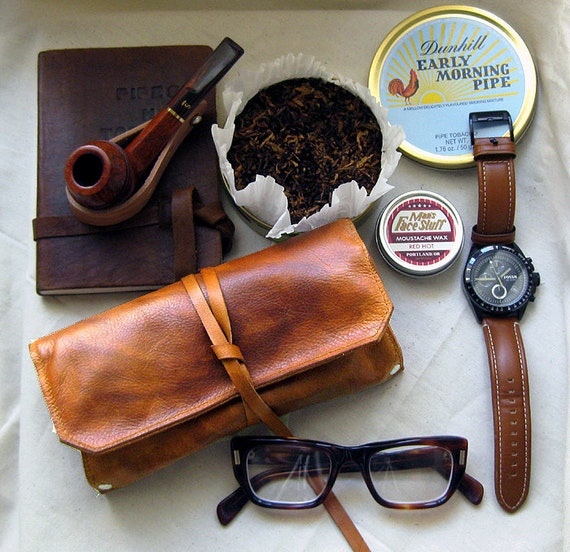 Hand Dyed Delux Leather Pipe & Tobacco Pouch in Dark Chestnut