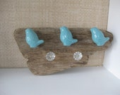 Drift Wood Bird and Crystal Wall Hook/Knobs