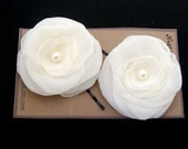 ivory bobby pin in chiffon and pearl- set of 2 (free shipping)