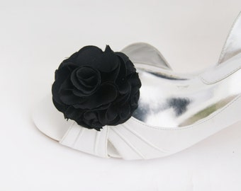 simple black shoe clips flower in satin fabric