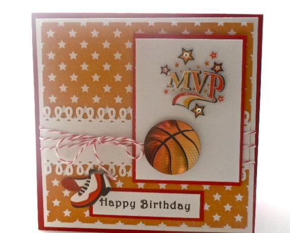 card handmade basketball theme for boy, Birthday card