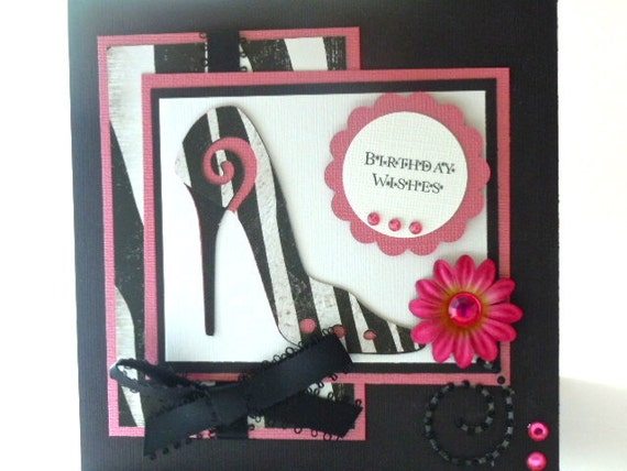Handmade Birthday Card  with High Heel Shoe Accent,  Pink & zebra print