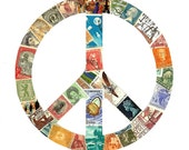 World Peace -- Peace Sign Original Postage Stamp Collage