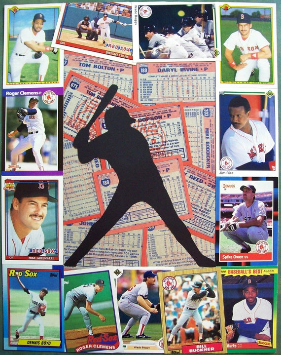 Red Sox Vintage Baseball Card Collage 11x14