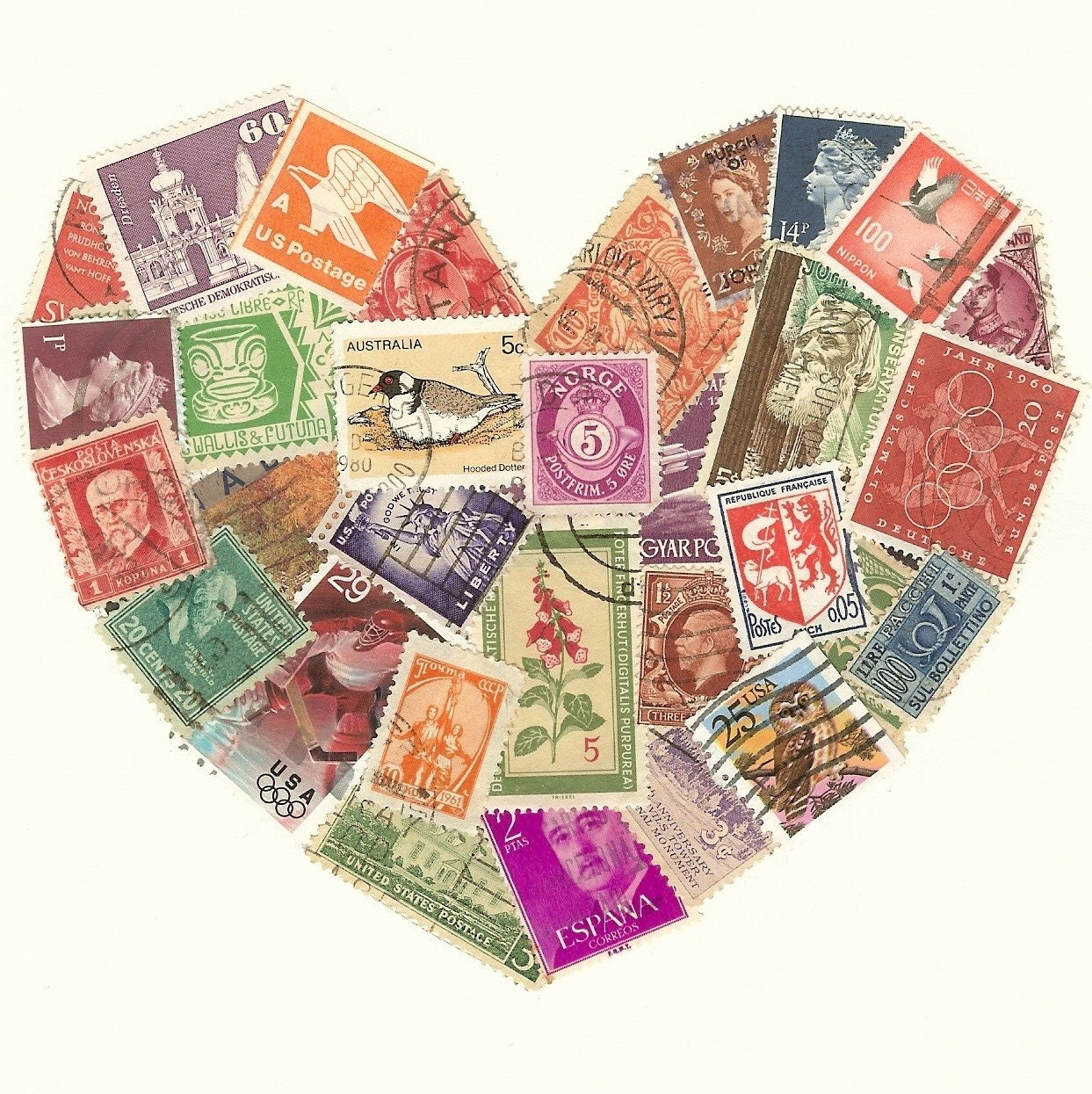 Postage Stamp Heart Collage Multi Colored Ooak