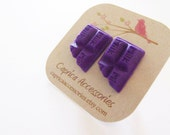 Purple chocolate bar earrings