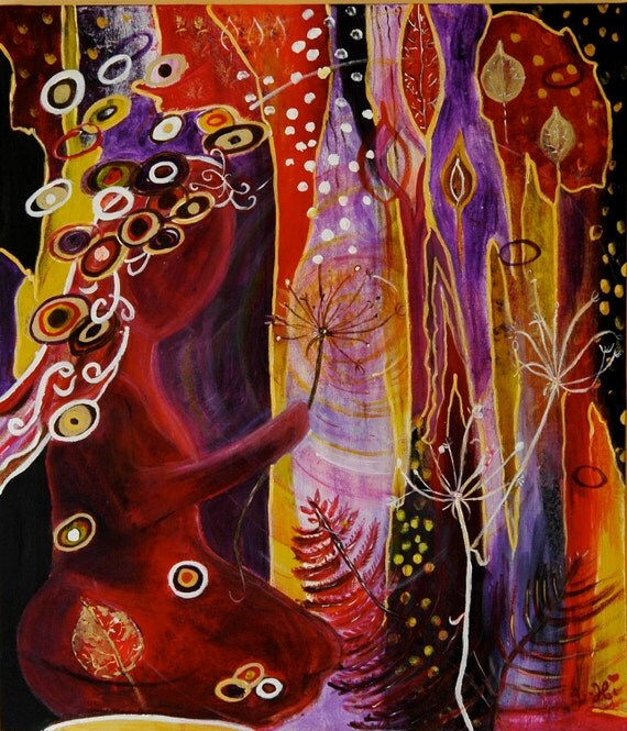 SALE- At one... - Original Semi-Abstract mixed media painting on boxed canvas by Jane Hinchliffe