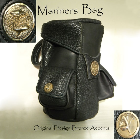 Leather Art, Mariners Bag, Original Designer Leather Bag with Limited edition Bronze Accents.