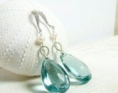 Apatite and Diamond Earrings in Sterling Silver:) Bridal Earring Collection, Spring 2013 Collection