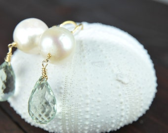 Mint Green Earrings, Bridesmaid Gifts, Matron of Honor Gifts, Mint Weddings, Bridal Pearl Earrings