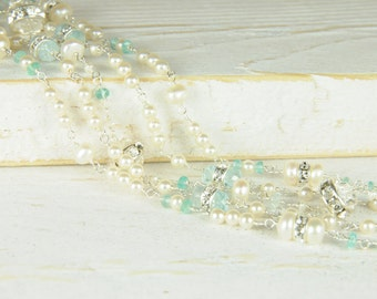 Dainty Simple Pearl and Aqua Marine Five Strand Bridal Bracelet:) Perfect Bridal Bracelet