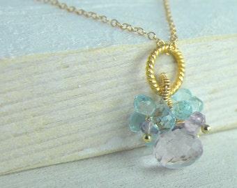 Jewelry, Flower Jewelry, Necklace, Dainty, Gift, Ametrine and Sky Blue Topaz Flower Pendant Necklace