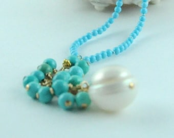 Sleeping Beauty and Pearl Tassel Necklace:) Bridal Jewerly