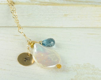 Personalized Initial Necklace/Penny  Pearl and London Blue Topaz Necklace