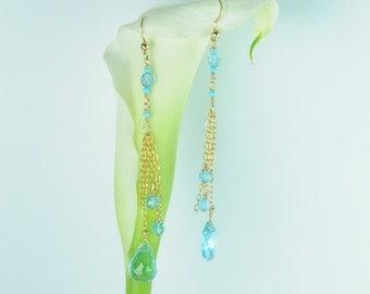 Bridesmaid Earrings, Bridal Earrings, Bridesmaid Jewelry Sets, Stunning, something blue, weddings, sky blue topaz, dangle