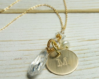 Monogrammed Necklace with Birthstone:)  April Birthstone Necklace, Initial Necklace, Monogrammed Necklace,Gifts for MOM