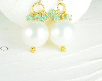 Bridal Statement Earrings with White Pearls, White Pearl Earrings, Apatite Earrings, Beach Weddings, Bridal Earrrings, Gifts for Her