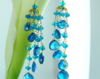 Something Blue Statement Earrings, Blue Bridal Earrings, Blue Statement Wedding Jewelry, Wedding Jewelry, Blue Bridal Jewelry
