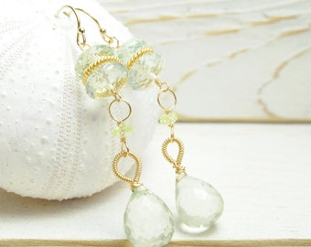 Weddings/ Mint Green Earrings/ Green Amethyst Earrings/  Matron of Honor Mint Earrings