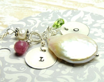 White Large Penny Pearl Monogrammed Necklace:)Perfect Mothers Day or Bridesmaid Gifts