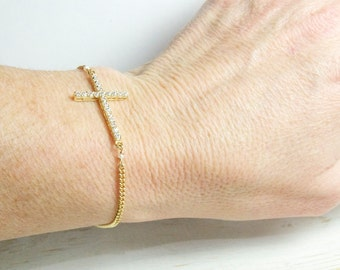 Large Diamond Crystal Cross Bracelet  Gold Double Sided, Bridesmaid Gifts and Favors