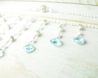 On Sale, Sample Sale, White Jade Necklace with Soft Blue Sky Blue Topaz:) Bridal Jewelry