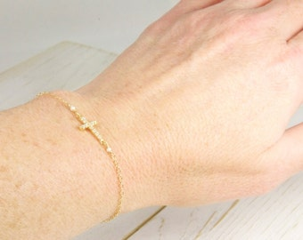 Rose Gold Fill Dainty Cross Bracelet in Gold /Side Cross Jewelry/ Dainty Side Cross Bracelets