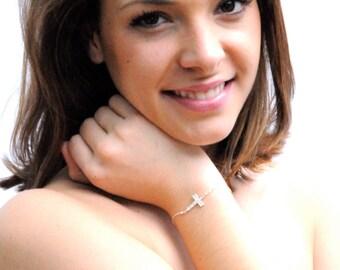 Dainty Diamond Cross Bracelet in Sterling Silver on Etsy