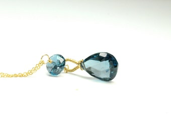 September Birthstone Jewelry, Weddings, Something Blue Jewelry, London Blue Topaz Necklace in Gold