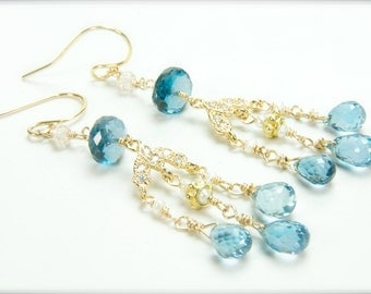 London Blue Topaz Earrings for the Bride, Matron of Honor Gifts, Bridal Earrings, Weddings