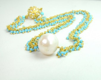 Turquoise and Pearl Cluster Necklace, Turquoise Bridal Jewelry, Something Blue Bridal Necklace, Turquoise Beach Bridal Necklace
