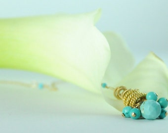 Dainty Turquoise Tassel Necklace:) Bridesmaid Gifts