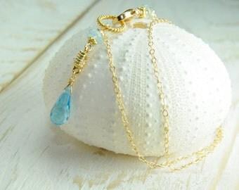 Dainty Chain Wrap Bracelet, Dainty Something Blue Wedding Jewelry, Dainty Chain Bridesmaid Gifts