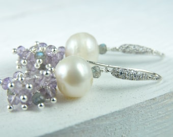 Tanzanite and Pearl Cluster Earrings, Lilac and Pearl Bridal Earrings,Lilac Pearl Earrings