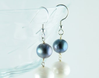 Perfect Everyday Pearl Earring/Grey and White Everyday Pearl Earrings/Lillyput Lane Design Company Sample Sale