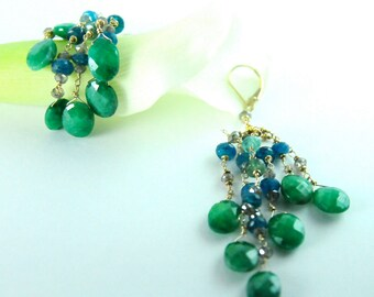 Emerald and Apatite Statement Earrings in 22K Gold Bridal