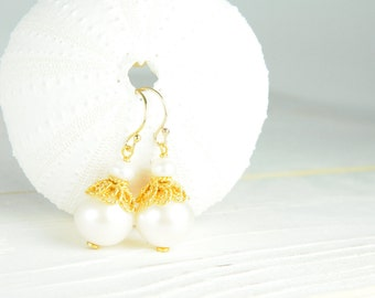 Classic Pearl Bridal Earrings by Lillyput Lane Design Company/ Wedding Party Couture Earring Ideas