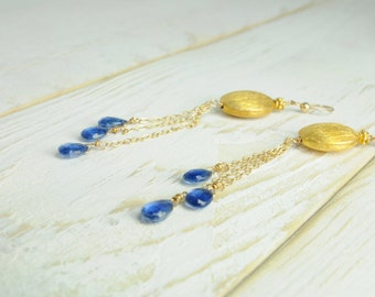 Weddings/Something Blue Bridal Earrings/Kyonite And Vermeil Bridal Earrings