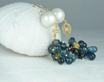 Topaz and Diamond Earrings/Topaz Diamond Earrings/London Blue Topaz Earrings/Bridal Sample Sale