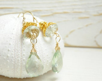 Mint Green Amethyst Bridal Statement Earrings/Bridal Statement Mint Earrings/Matron of Honor Earrings